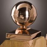 Copper Bella globe post topper
