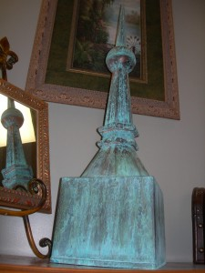 Old Chicago finial with verdigris finish
